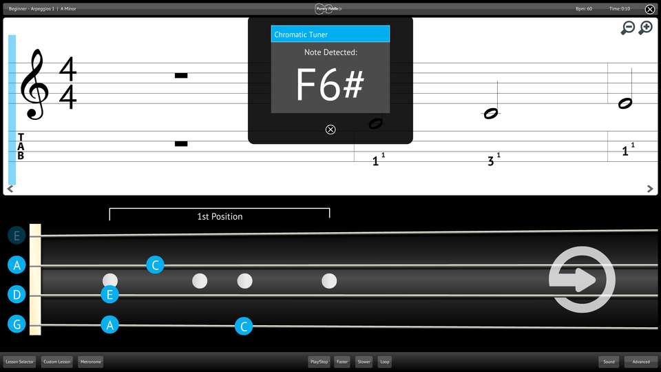 Purely Fiddle Screenshot Chromatic Tuner